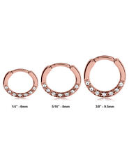 Rose Gold PVD Coated 316L Surgical Steel Septum Clicker Nose Ring Clear CZ 16G
