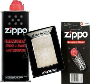 ZiPPO chrom gebürstet KLASSIKER SET ZiPPO Feuerzeug + ZiPPO Benzin ZiPPO Steine