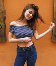 New! Brandy Melville navy/white/black striped off shoulder Ellery top NWT XS/S