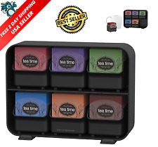 Tea Bag Storage Box Display Organizer Condiment Chest Holder Compartment Black