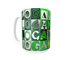 LOGAN Coffee Mug / Cup featuring the name in photos of GREEN sign letters