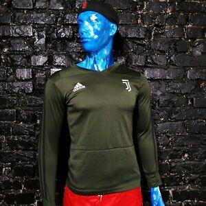 Juventus Juve Training Jacket Long Sleeve Olive Black Adidas Polyester Mens SZ S