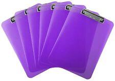 Plastic Clipboard Transparent Letter Size Low Profile Clip (Pack of 6) (Purple)