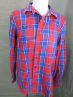 Duluth Size L Mens Red/Blue Plaid 100% Cotton Flannel Long Sleeve Shirt T098