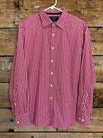 Men's Charles Tyrwhitt Dress Shirt Poplin Weave Pink Striped Slim Fit Large