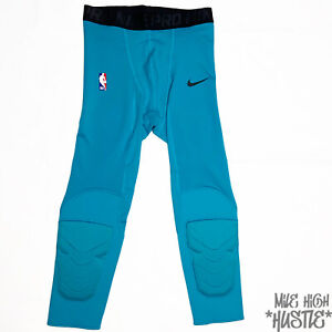 Nike Men's Size X-Large Teal Pro NBA Hyperstrong Compression 3/4 Length Pants