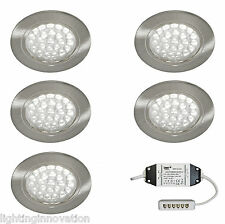 5 X LED Recessed Kitchen Under Cabinet Cupboard Shelf Light Kit Set Cool White