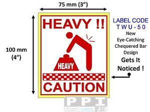 """Red HEAVY CAUTION Box Packaging Labels Stickers On Roll 100x75mm (4""""x3"""") TWU-50"""