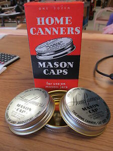 Home Canners Mason Jar Caps 1950's-60's?? 1 Dozen In Box NOS Without Gaskets