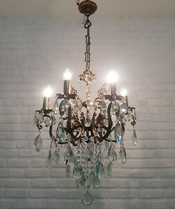 Antique Vintage & 6 arms Brass & Crystals Chandelier Lighting Ceiling Lamp