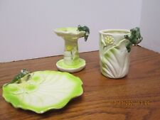 Vintage 3 Pc Bath Accessories Set -Frogs/Soap Dish, Toothbrush Holder, Cup,Nice