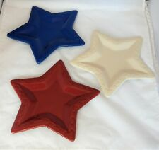 LONGABERGER SET OF 3 STAR PLATES, Woven Traditions, Red, White & Blue