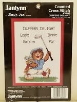 Janlynn Suzys Zoo Counted Cross Stitch Kit Golf Duffers Delight W/Frame