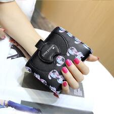 Girls Cute Cat Short Wallet Purse Tassel Coin Bag Zipper Card Holder Black
