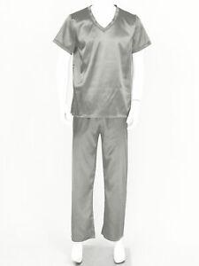 Men Shiny Silk Satin Pajama Set Short Sleeve Top+Long Pants Sleepwear Homewear L
