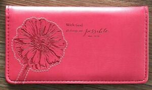 CHECKBOOK COVER With God All Things Are Possible Pink  by Christian Art Gifts