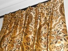 Custom drapes printed SILK fabric floral medallion design GOLD green new PAIR
