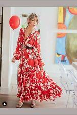 H&M X Johanna Ortiz Rojo Maxi Vestido con estampado de flores voluminoso-Talla M BNWT