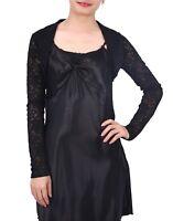 Womens Sheer Black Lace Long Sleeve Bolero Shrug Cropped Cardigan Sweater Top