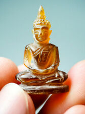 Antique Real Genuine Honey Golden Amber Carved Meditation Buddha Post statue