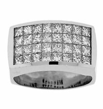 3.52ct PRINCESS Invisible Cut Diamond Mens Ring in 18K White Gold
