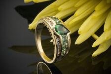 Schmuck Sommerlicher Ring mit Tsavorit & Brillanten in 750er Gelbgold 18 Karat