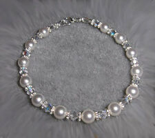 Custom Crystal Pearl Bridal Bridesmaid Prom Homecoming Bracelet 925 SS