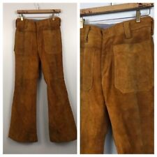 1960s Leather Pants / Bell Bottom Brown Buckskin Hip Hugger Pants / Men's 28x30