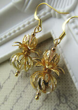 Lucky Scottish Thistle Earrings - Gold Tone - Crystal Glass Beads