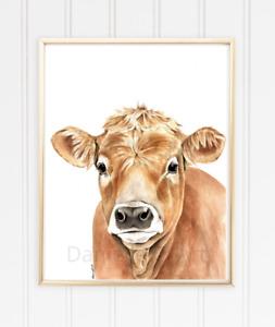Watercolour Cow Print - brown cow art, farm animal print, vegan artwork
