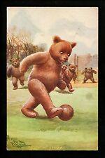 Teddy Bear Vintage postcard Artist Signed Pillard pub. Langsdorff Ser.730 Soccer