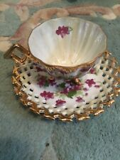 Antique China eggshell  Cup And Saucer Purple Fine China Sd181