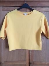 Ladies H&M Size 10 Cropped Shirt Sleeved Neoprene Sunshine Yellow Top BNWT