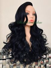 Black Wig Lace Front Side Part Heat Resistance Ok 24 Inch Long Wavy Layered