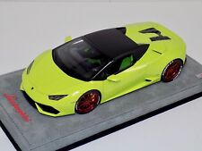1/18 MR Collection Lamborghini Huracan Spider Green with Shinny Red Wheels