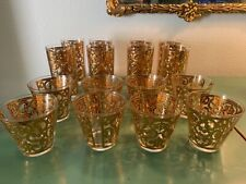 Georges Briard Gold Spanish Scroll glasses set of 16 Cocktail + Collins Glasses