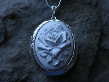 STUNNING WHITE ROSE CAMEO SILVER PLATED LOCKET - BRIDAL - WEDDING