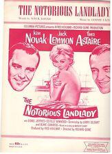"""""""THE NOTORIOUS LANDLADY"""" JACK LEMMON/FRED ASTAIRE/KIM NOVAK SHEET MUSIC-1962-NEW"""
