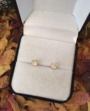 Glittering genuine natural White Sapphire 5mm 14K yellow gold stud earrings ✨