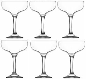 Martini Cocktail Glasses. Champagne Coupe Saucers (Set of 6).  200 ml.