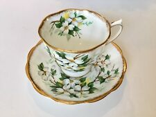 Royal Albert White Dogwood Brushed Gold Tea Cup and Saucer Set