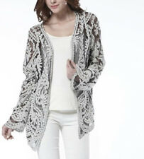 Open Lace Cardigan Size 12 Cotton Semi Sheer Ladies Womens BNWT B-1153
