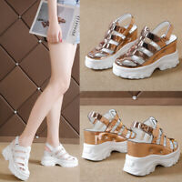 Fashion Womens Cut Out Platform Slingback Sandals Strappy High Wedge Heels Shoes