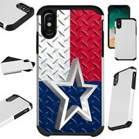 FusionGuard For iPhone 6/7/8 PLUS/X/XR/XS Max Phone Case CROSSHATCH TEXAS FLAG