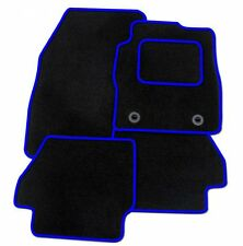 TOYOTA AYGO 2005-2014 (1X CLIP) TAILORED CAR FLOOR MATS- BLACK WITH BLUE TRIM