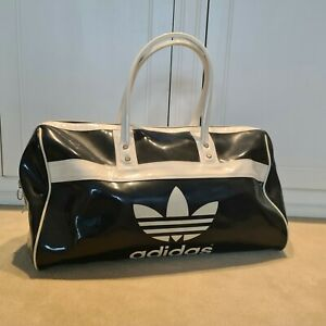 Retro Adidas Sports Bag Charcoal Grey and Ivory Gloss