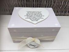 Shabby Personalised Chic Bereavement Memorial Box In Memory Grandad Or Any Name