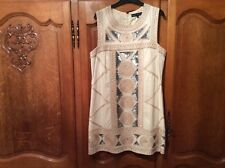 French Connection dress cream with sequins and pearls size 16