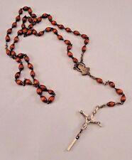 Italian Rosary Wood Beaded Christian Jesus Cross Crucifix Marked Italy Vintage