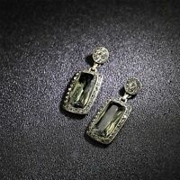 Boucles d'oreilles Doré Geometrique Art Deco Rond Rectangle Vert Olive DD13